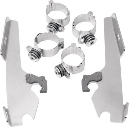 Memphis Shades Polished Trigger Lock Mounting Brackets Kit 08-17 Harley DYNA