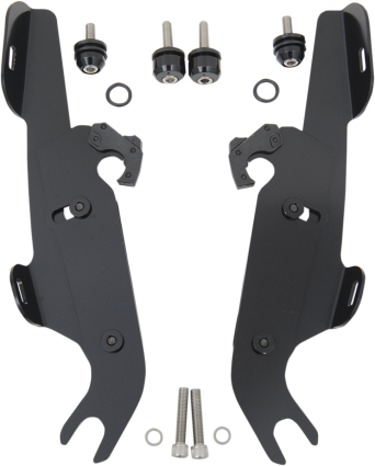 Memphis Shades Black Trigger Lock Fairing Mounting Kit 86-17 Harley Softail FLST