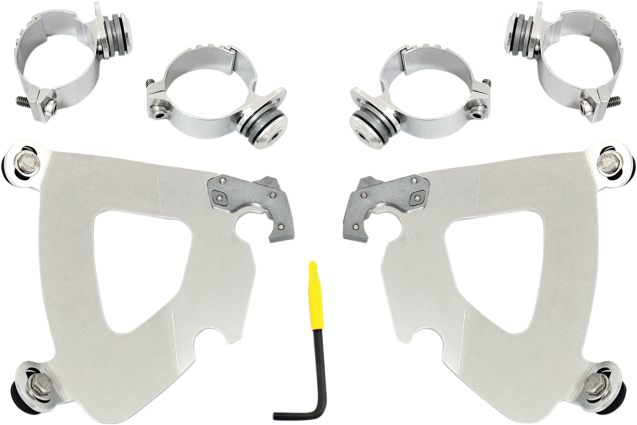 Memphis Shades Gauntlet Fairing Polished Trigger-Lock Mount Kit 06-17 Harley FXD