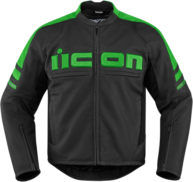 Icon Mens Green Motorhead 2 Leather Motorcycle Riding Racing Jacket Harley