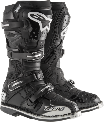 Alpinestars Mens Tech 8 RS black Leather Microfiber offroad dirt bike boots