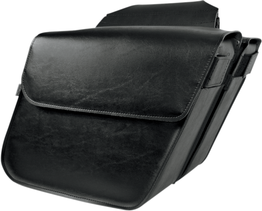 Willie & Max Black Leather Raptor Universal Motorcycle Slant Saddlebags Harley