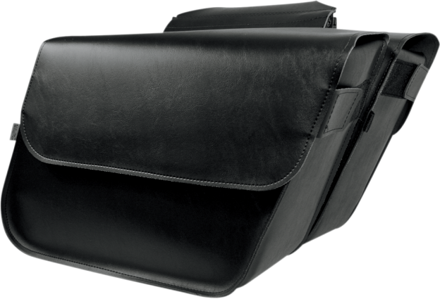 Willie & Max Black Universal Leather Raptor Motorcycle Saddlebags Harley Softail