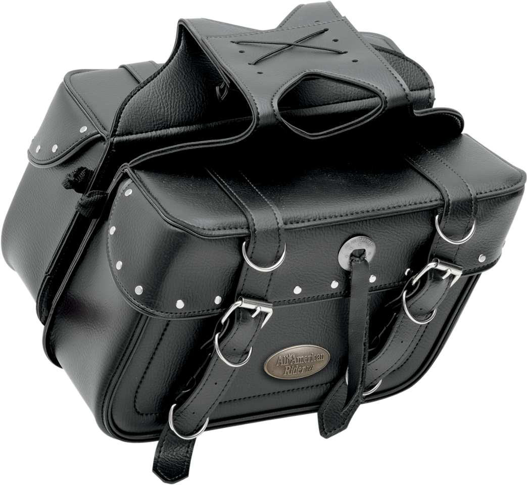 All American Rider Black Leather Rivet Universal Saddlebags for Harley Davidson