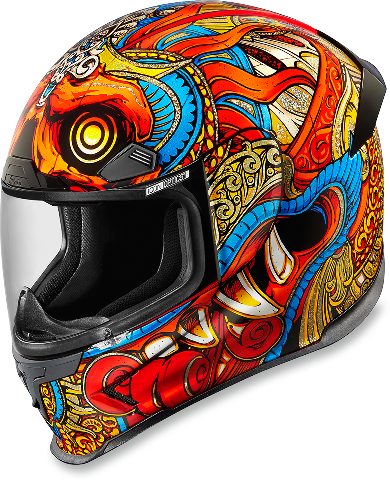 Icon Red Unisex Airframe Barong Motorcycle Fullface Riding Street Racing Helmet