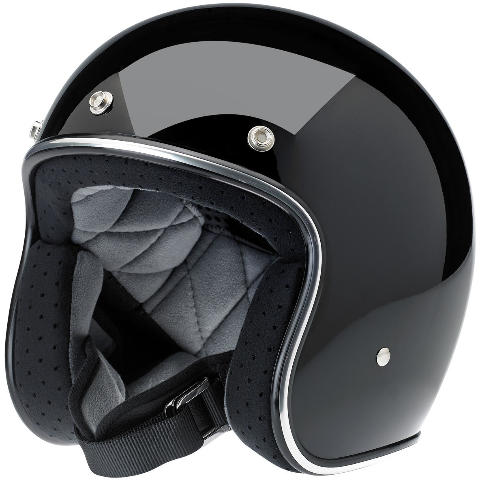 Biltwell Bonanza DOT 3/4 Gloss Black Motorcycle Riding Street Racing Helmet