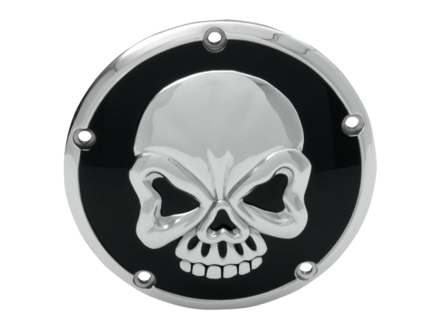 Drag Specialties Black & Chrome Skull 5 Hole Derby Cover 99-18 Harley Davidson
