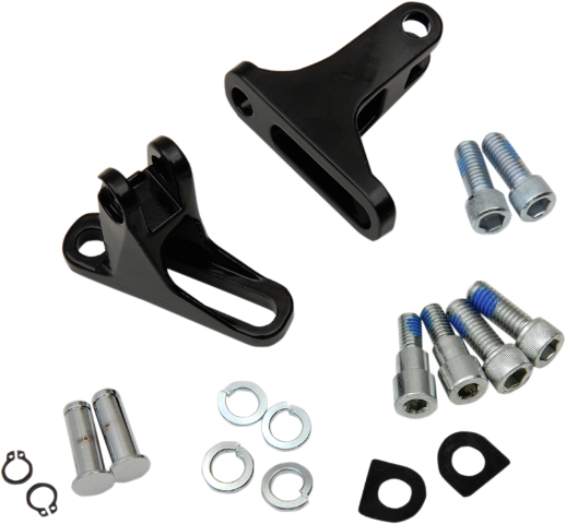 Drag Specialties Black Passenger Footpeg Mount Kit 93-17 Harley Touring FLHX