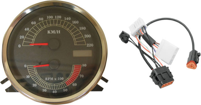 Drag Specialties KM/H Speedometer Speedo  Tach & Harness for 96-03 Harley Softail