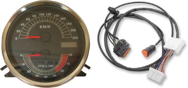 Drag Specialties KMH Speedo Speedometer Tach & Harness for 96-03 Harley FLHR