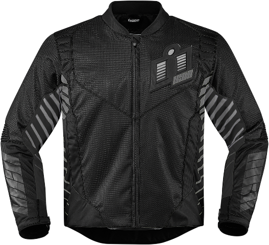 Mens Icon Black Textile Wireform Motorcycle Riding Street Racing Jacket CLOSEOUT