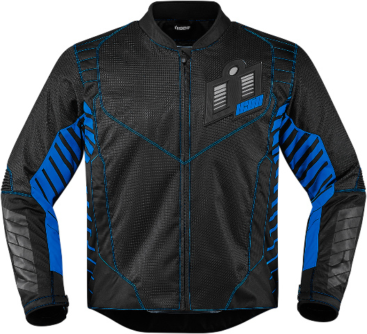 Mens Icon Blue Textile Wireform Motorcycle Riding Street Racing Jacket CLOSEOUT