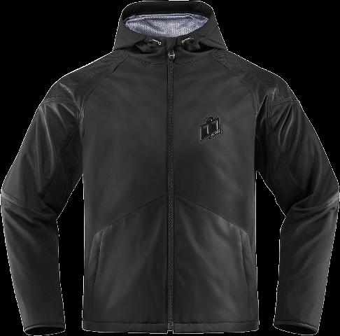 Mens Icon Black Merc Stealth Textile Motorcycle Riding Street Racing Jacket