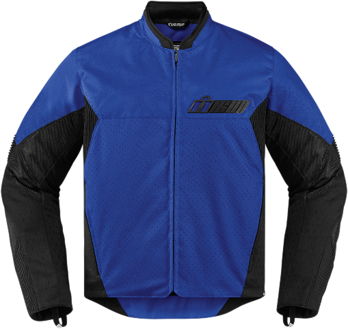 Mens Icon Blue Textile Stealth Konflict Motorcycle Street Racing Jacket CLOSEOUT