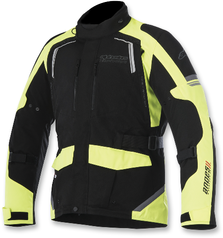 Mens Alpinestars Black Yellow Textile Andes V2 Motorcycle Riding Street Jacket
