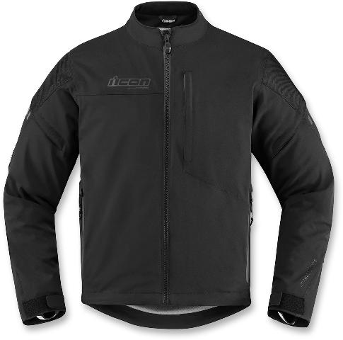 Mens Icon Black Long Sleeve Textile Tarmac Motorcycle Riding Street Racing Jacket