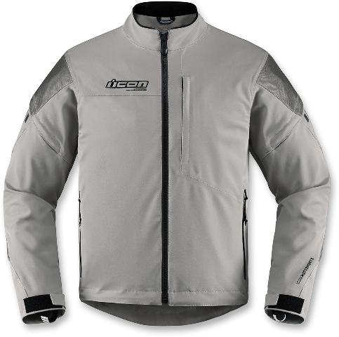 Mens Icon Gray Long Sleeve Textile Tarmac Motorcycle Riding Street Racing Jacket