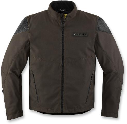 Mens Icon Brown Textile Squalborn Motorcycle Riding Street Racing Jacket
