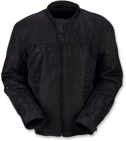 Z1R Mens Black Solid Mesh Gust Motorcycle Riding Street Racing Zipper Jacket