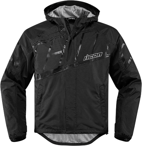 Mens Icon Black PDX 2 Textile Motorcycle Riding Waterproof Rain Street Jacket