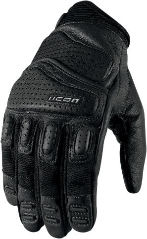 Icon Super Duty 2 Mens Black Motorcycle Leather Biker Gloves