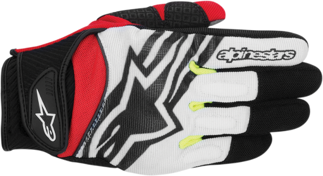 Alpinestars black, red, yellow & white motorcycle riding gloves