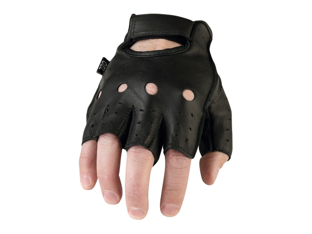 Z1R Mens 243 Half Black Leather Motorcycle Biker Street Glove