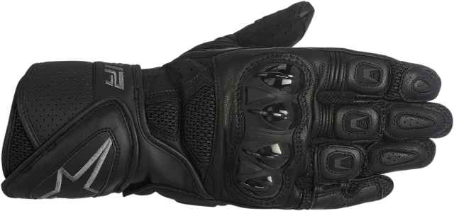 Alpinestars Mens Black Gray Leather SP Air Motorcycle Street Racing Gloves