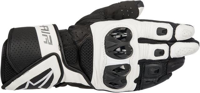 Alpinestars Mens Black White Leather SP Air Motorcycle Street Racing Gloves