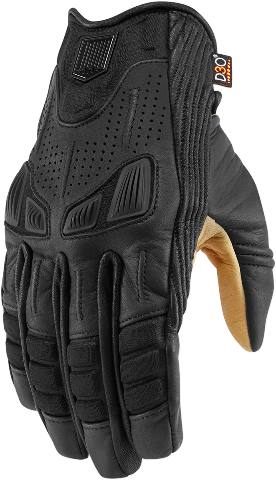 Mens Icon Black Textile Leather Axys Motorcycle Riding Street Racing Gloves