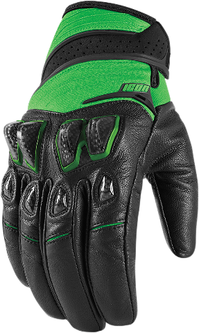 Icon Green Textile Konflict Motorcycle Riding Street Racing Gloves CLOSEOUT