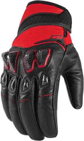 Icon Red Textile Konflict Motorcycle Riding Street Racing Gloves CLOSEOUT