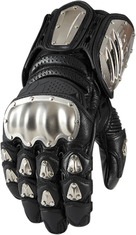 Mens Icon Black D30 Timax Leather Long Motorcycle Riding Street Racing Gloves
