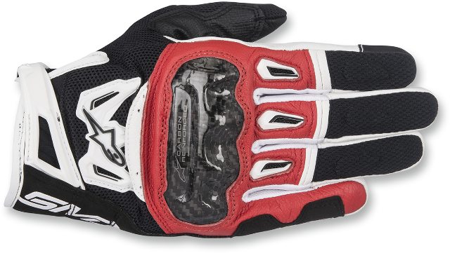 Alpinestars Leather SMK2 Black Red White v2 Mens Motorcycle Street Riding Gloves