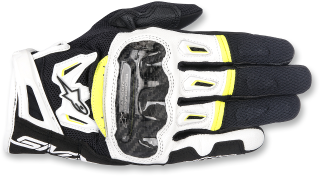 Alpinestars Mens Leather Black Yellow White SMK-2 v2 Motorcycle Riding Gloves