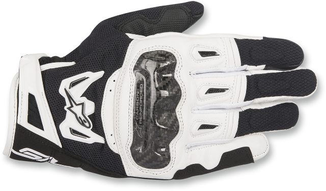 Alpinestars Mens Leather Black White SMK-2 v2 Motorcycle Street Riding Gloves