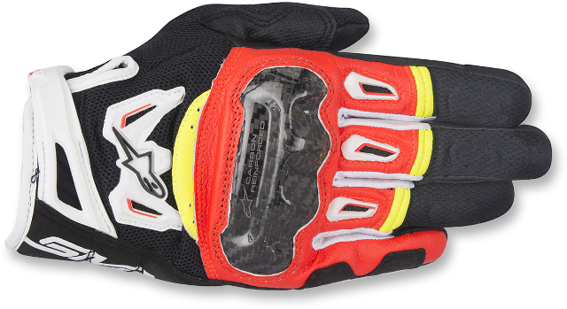 Alpinestars Mens Leather Black Red Yellow White SMK2 v2 Motorcycle Riding Gloves