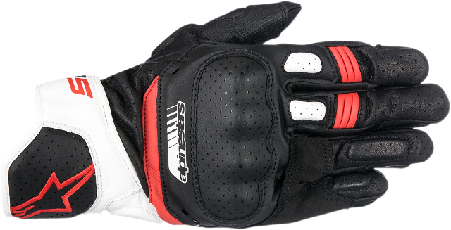 Alpinestars Mens Pair Black Red White SP5 Motorcycle Riding Street Racing Gloves