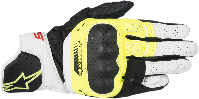 Alpinestars Mens SP5 Black White Yellow Leather Motorcycle Riding Street Gloves