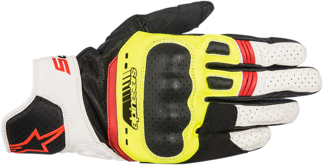 Alpinestars Mens Black Yellow White SP5 Motorcycle Riding Street Racing Gloves