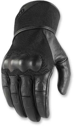 Mens Icon Black Tarmac Leather Pair Motorcycle Riding Street Racing Gloves CLOSEOUT