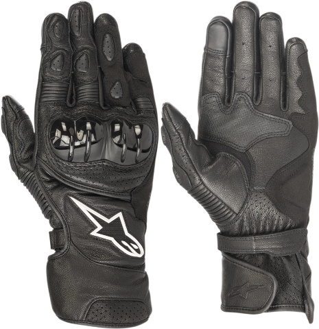 Alpinestars Pair Mens SP2 Black Leather Motorcycle Riding Street Racing Gloves