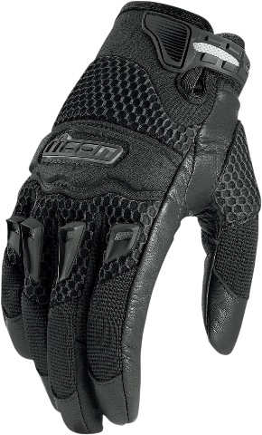 Womens Icon Black 29ER Textile Leather Motorcycle Riding Street Racing Gloves