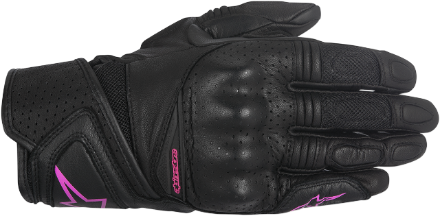 Alpinestars Womens Baika Black Pink Leather Motorcycle Riding Street Gloves