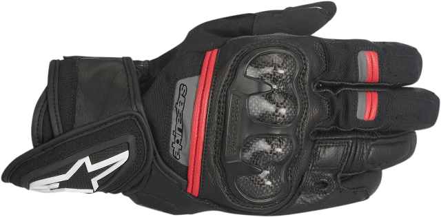 Alpinestars Mens Black Red Rage Motorcycle Riding Street Racing Gloves