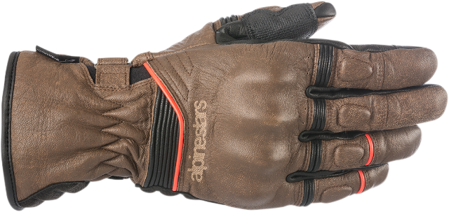 Alpinestars Mens Black Brown Leather Cafe Motorcycle Riding Street Racing Gloves