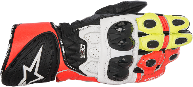 Alpinestars Mens Leather GP Plus R Black Red White Yellow Street Racing Gloves