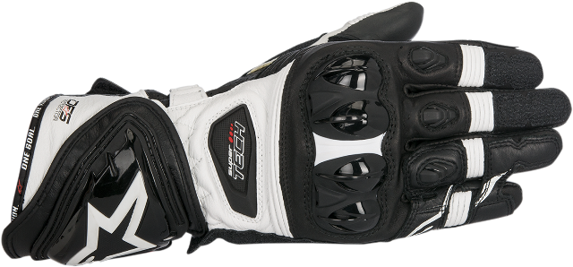 Alpinestars Black White Leather Supertech Motorcycle Riding Street Racing Gloves