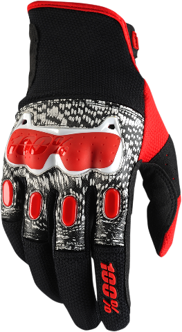 Mens 100 % Black Red White Derestricted Leather Vented Offroad Riding Gloves