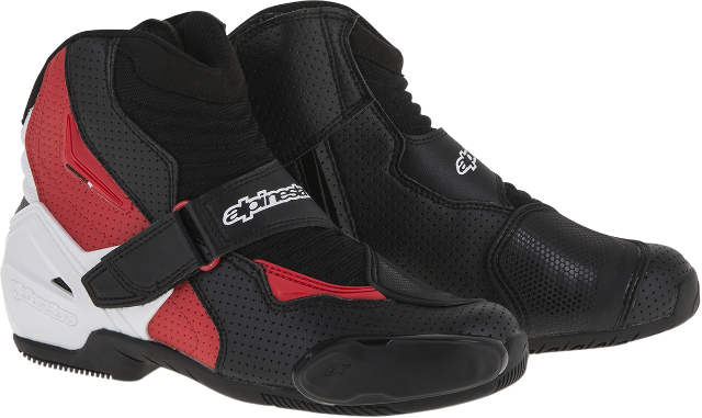 Mens Alpinestars Black White Red Textile SMX-1R Motorcycle Street Racing Boots